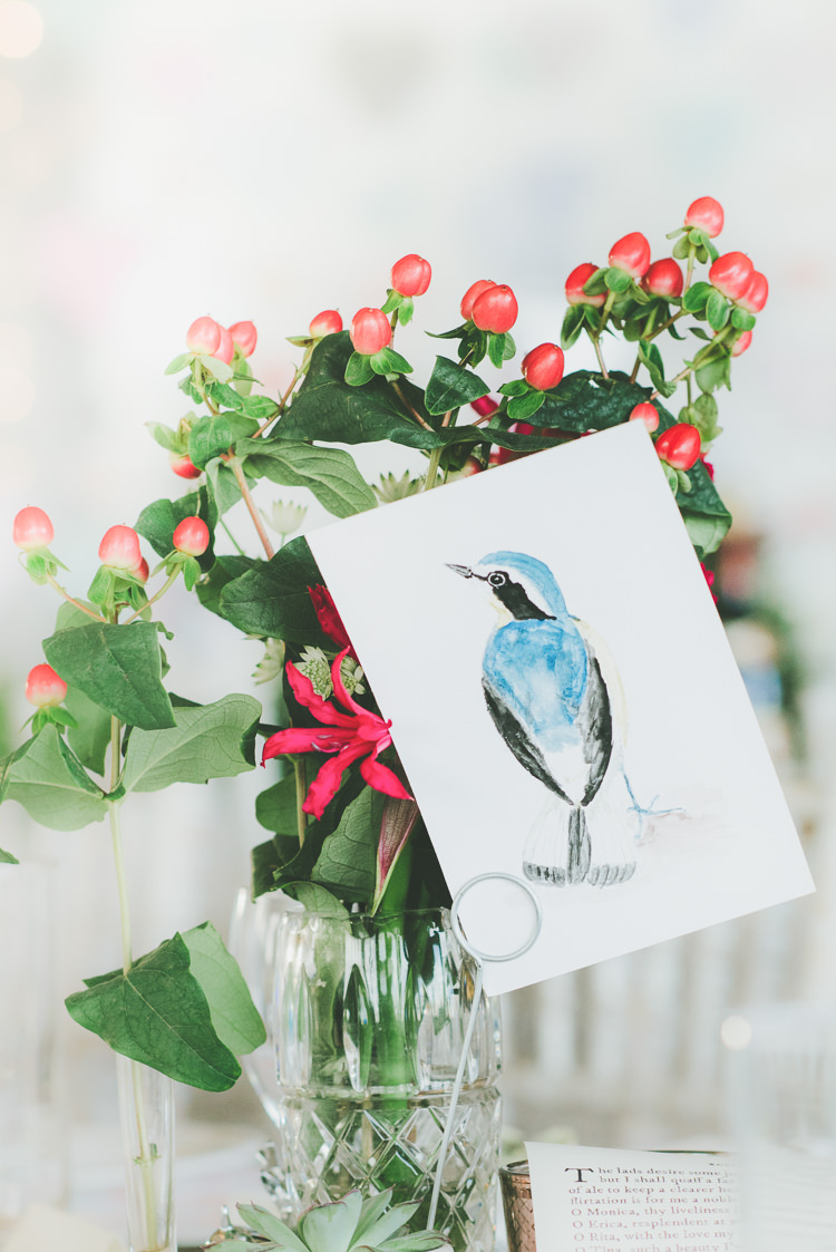 Illustrated Painted Bird Table Names Eclectic Quirky DIY Vintage Wedding https://www.georgimabee.com/