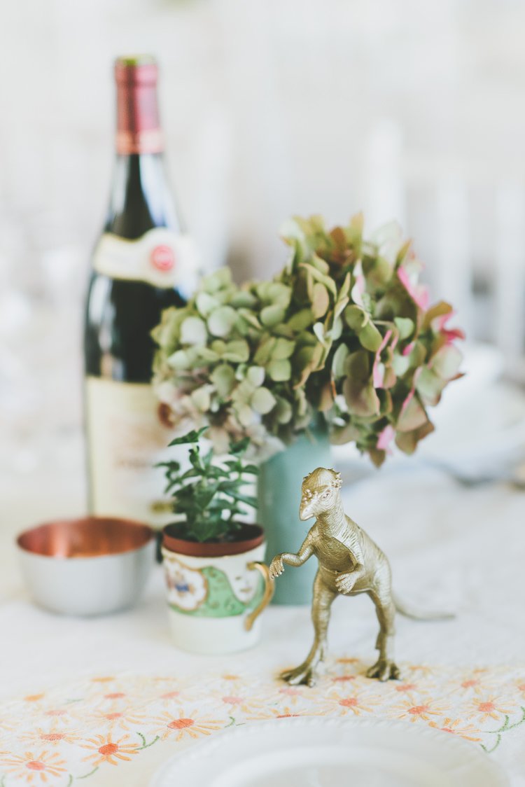 Painted Dinosaur Decor Tables Eclectic Quirky DIY Vintage Wedding https://www.georgimabee.com/