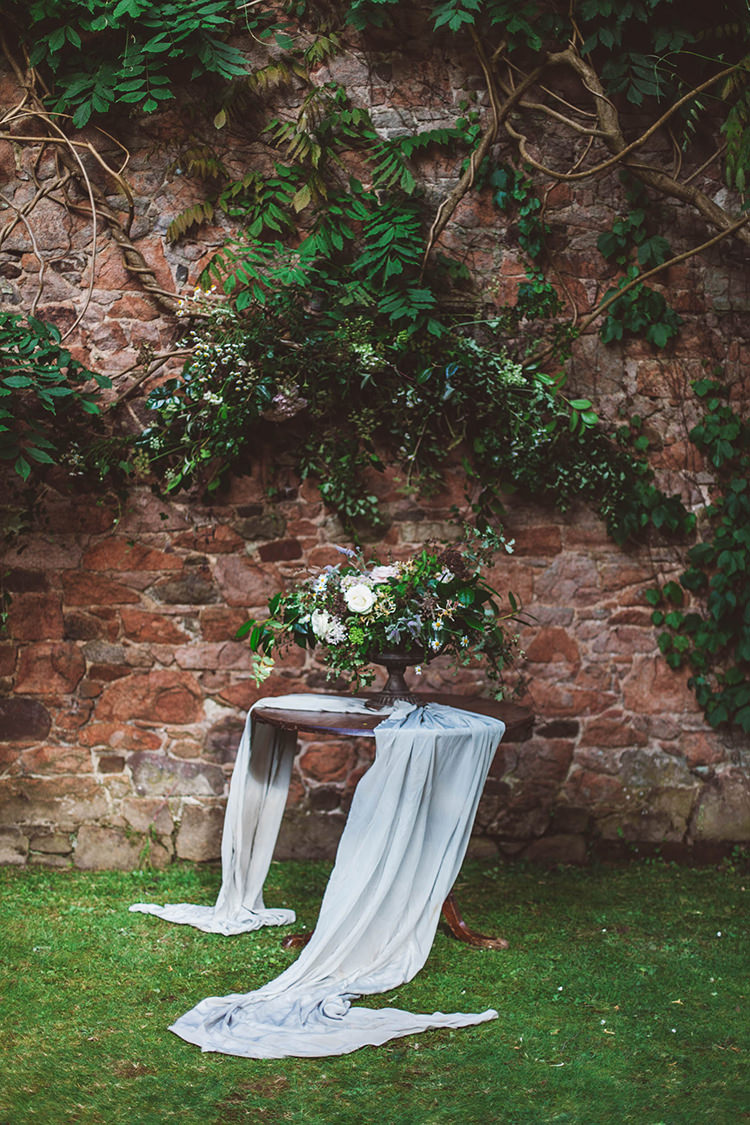 Flower Wall Backdrop Table Cloth Silk Beautiful Walled Garden Wedding Ideas http://www.brittamarie-photography.com/