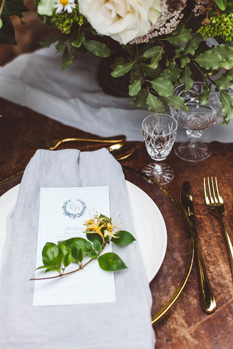 Place Setting Fabric Flower Stationery Beautiful Walled Garden Wedding Ideas http://www.brittamarie-photography.com/