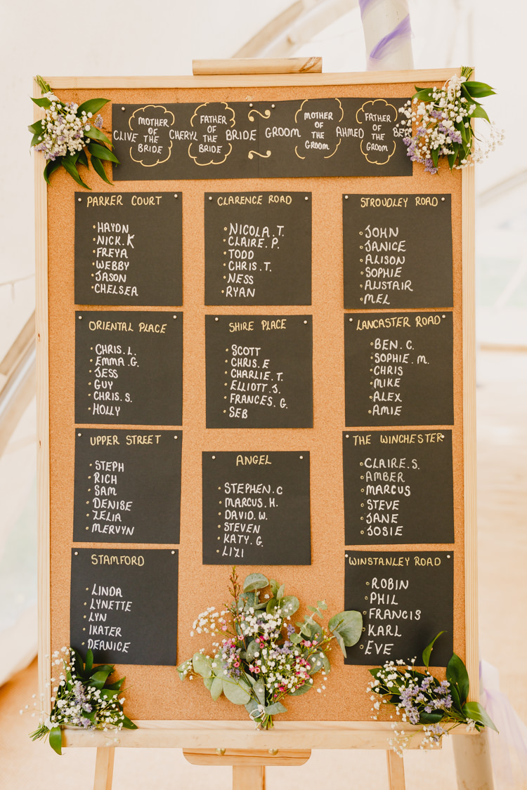 Cork Board Seating Plan Table Chart Flowers Rustic Hand Crafted Relaxed Wedding http://www.andydavison.com/