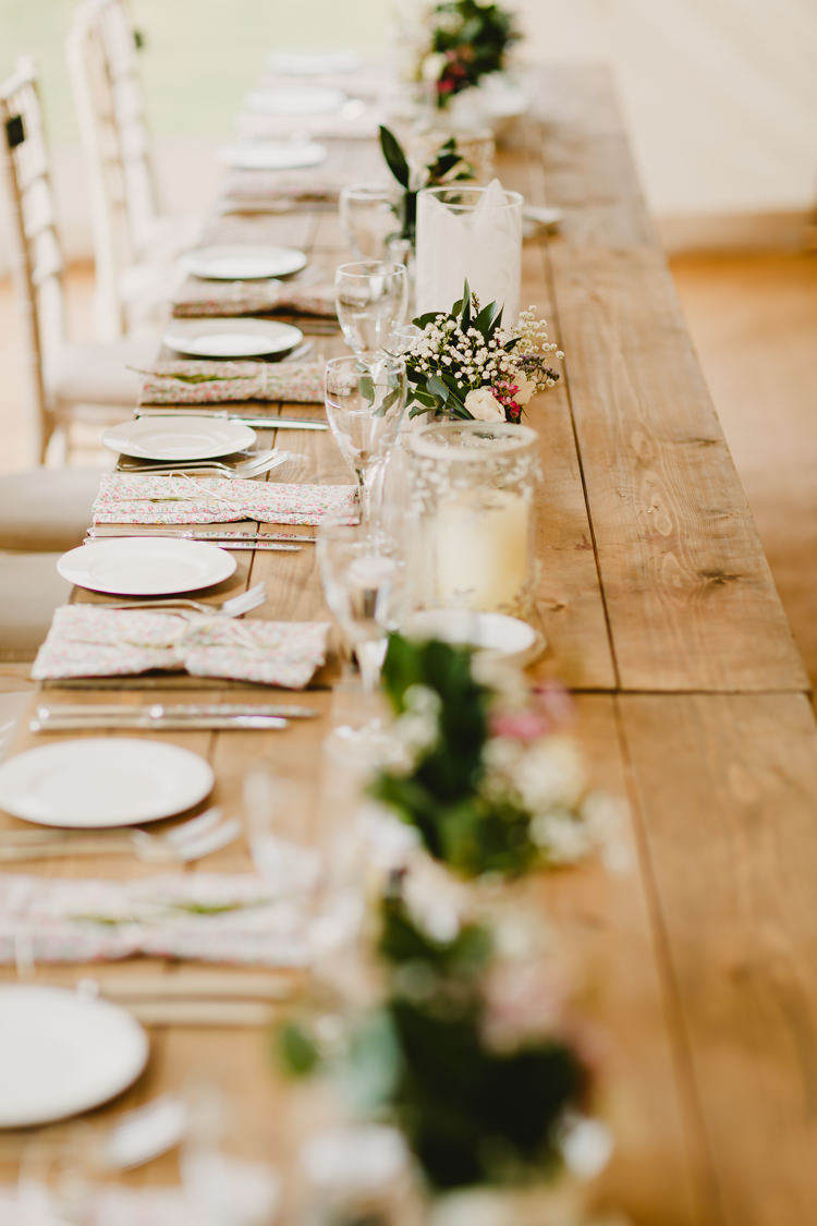 Long Wooden Tables Flowers Jars Floral Napkins Rustic Hand Crafted Relaxed Wedding http://www.andydavison.com/