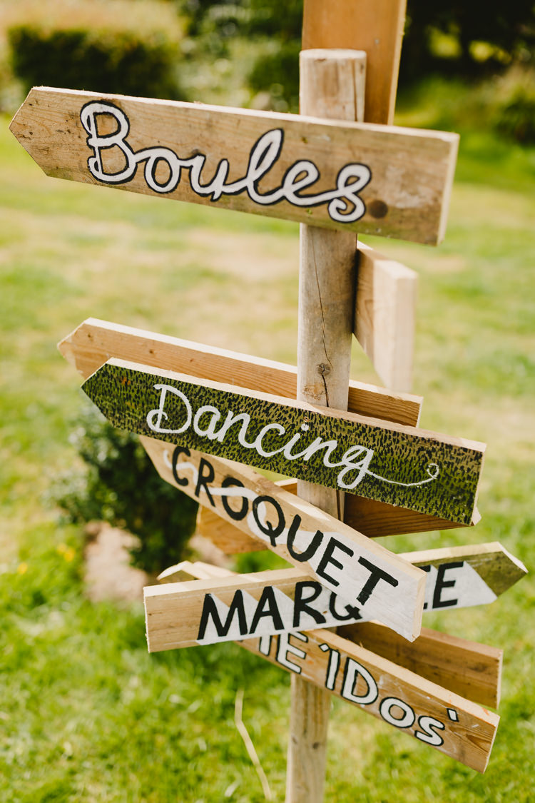 Wooden Painted Sign Post Rustic Hand Crafted Relaxed Wedding http://www.andydavison.com/