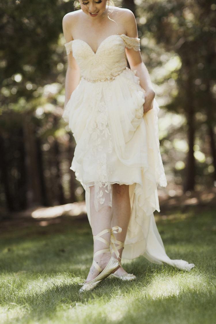 Bride Sarah Seven Cascade Lace Off The Shoulder Bridal Gown Gold Embellished Belt Ballet Slippers Long Ribbons Whimsical Forest Harry Potter Wedding http://heatherelizabethphotography.com/