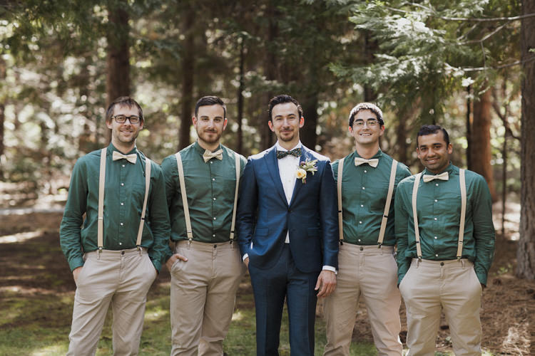 Groom Dark Blue Suit Patterned Bowtie Groomsmen Green Shirt Beige Pants Suspenders Bowties Whimsical Forest Harry Potter Wedding http://heatherelizabethphotography.com/