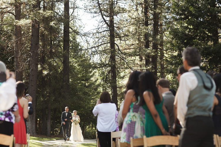 Outdoor Ceremony Bride Lace Off The Shoulder Bridal Gown Father Entrance Guests Whimsical Forest Harry Potter Wedding http://heatherelizabethphotography.com/