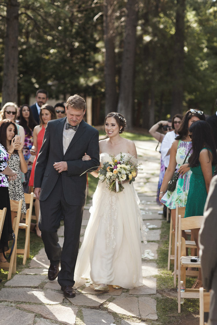 Outdoor Ceremony Bride Sarah Seven Cascade Lace Off The Shoulder Bridal Gown Multicoloured Bouquet Father Entrance Guests Whimsical Forest Harry Potter Wedding http://heatherelizabethphotography.com/