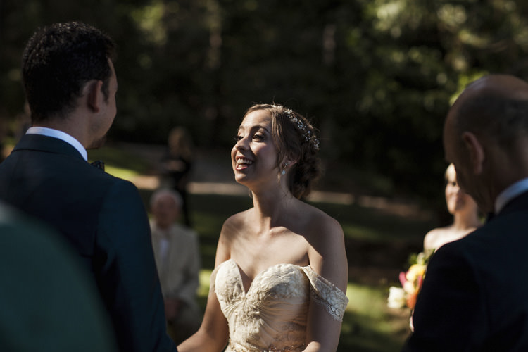 Outdoor Ceremony Bride Sarah Seven Cascade Lace Off The Shoulder Bridal Gown Crystal Hairpiece Groom Dark Blue Suit Whimsical Forest Harry Potter Wedding http://heatherelizabethphotography.com/