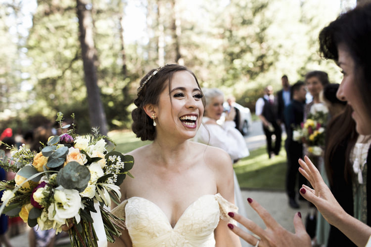 Outdoor Ceremony Bride Sarah Seven Cascade Lace Off The Shoulder Bridal Gown Crystal Headpiece Multicoloured Bouquet Guests Whimsical Forest Harry Potter Wedding http://heatherelizabethphotography.com/