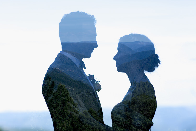 Bride Groom Silhouette Trees Mountains Whimsical Forest Harry Potter Wedding http://heatherelizabethphotography.com/
