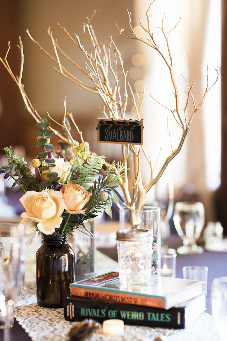 Reception Table Setting Book Lover Theme Dark Bottle Multicoloured Florals Books Candles Painted Branch Blackboard Place Name Whimsical Forest Harry Potter Wedding http://heatherelizabethphotography.com/