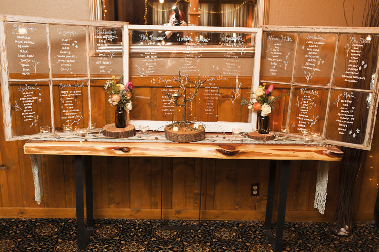 Reception Table Seating Chart Clear Glass Handwritten Names Dark Bottles Multicoloured Florals Candles Whimsical Forest Harry Potter Wedding http://heatherelizabethphotography.com/