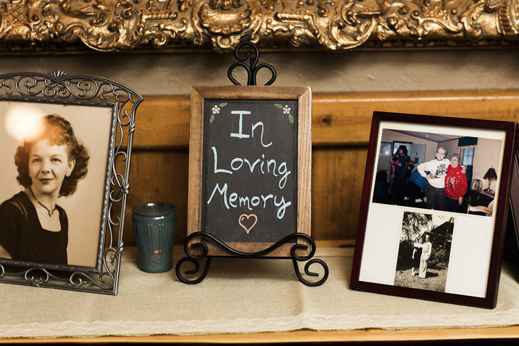 Reception Memory Table Blackboard Handwritten Sign Photo Frames Whimsical Forest Harry Potter Wedding http://heatherelizabethphotography.com/