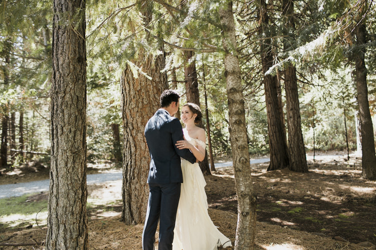 First Look Bride Sarah Seven Cascade Lace Off The Shoulder Bridal Gown Embellished Belt Crystal Hairpiece Groom Dark Blue Suit Patterned Bowtie Whimsical Forest Harry Potter Wedding http://heatherelizabethphotography.com/