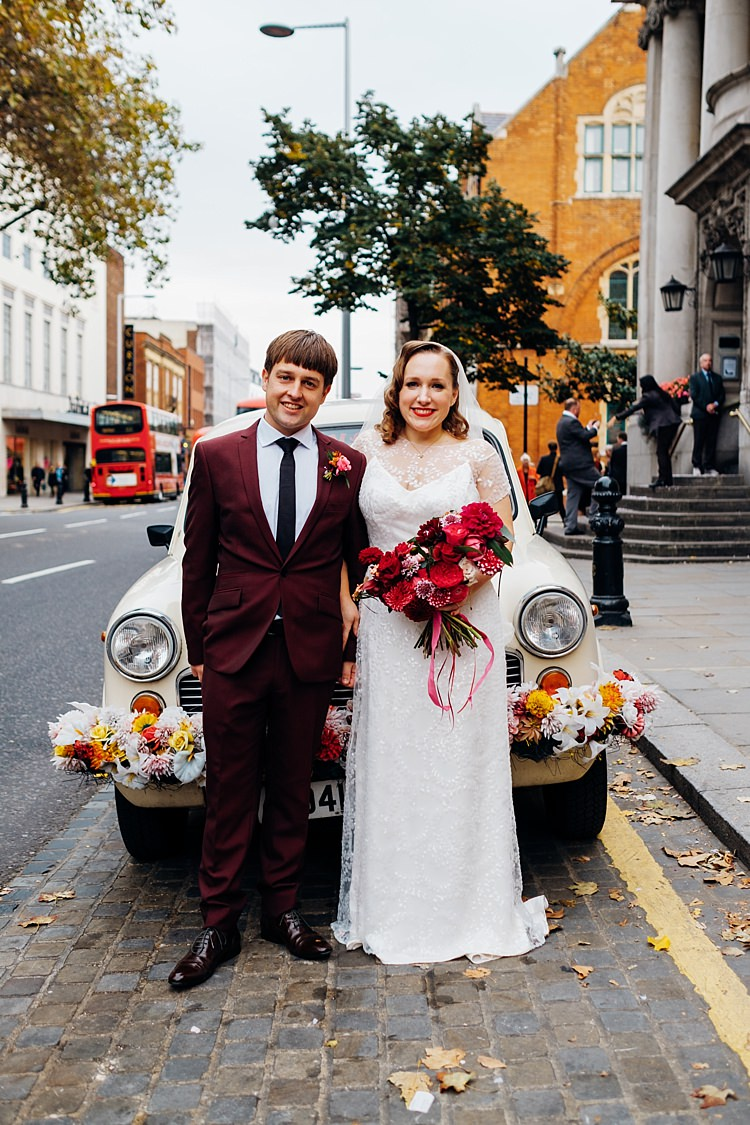 Car Transport Flowers Bride Groom Quirky Cool City Party Wedding http://www.mariannechua.com/