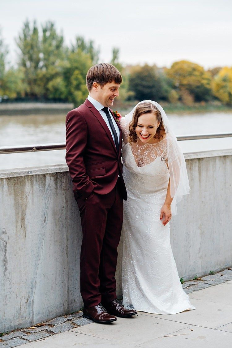 Red Burgundy Suit Groom Mod Style Quirky Cool City Party Wedding http://www.mariannechua.com/