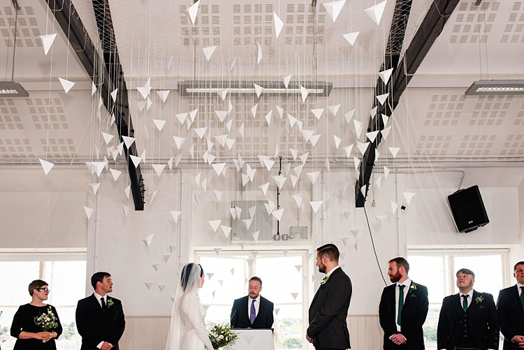 Paper Backdrop Hanging Ceremony Modern Geometric Theatre Monochrome Wedding http://www.babbphoto.com/