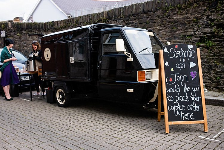 Coffee Cart Truck Modern Geometric Theatre Monochrome Wedding http://www.babbphoto.com/