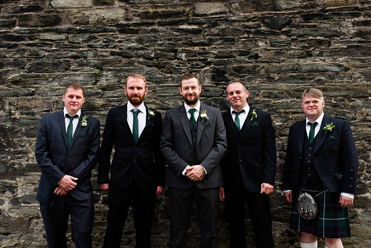 Groom Groomsmen Suits Green Tie Modern Geometric Theatre Monochrome Wedding http://www.babbphoto.com/