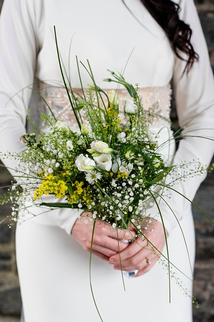 DIY Bouquet Flowers Bride Bridal Greenery Foliage Modern Geometric Theatre Monochrome Wedding http://www.babbphoto.com/