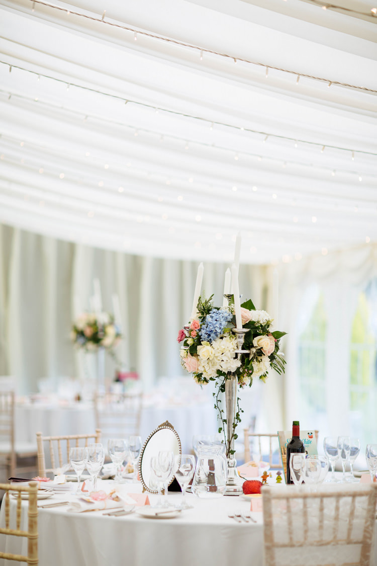 Candelabra Flowers Decor Centrepiece Enchanted English Country Garden Wedding Disney http://lauradebourdephotography.com/