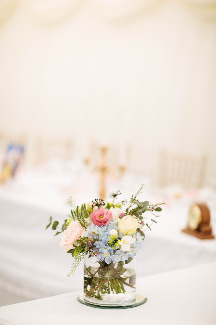 Vase Flowers Pretty Pink Blue Mirror Enchanted English Country Garden Wedding Disney http://lauradebourdephotography.com/