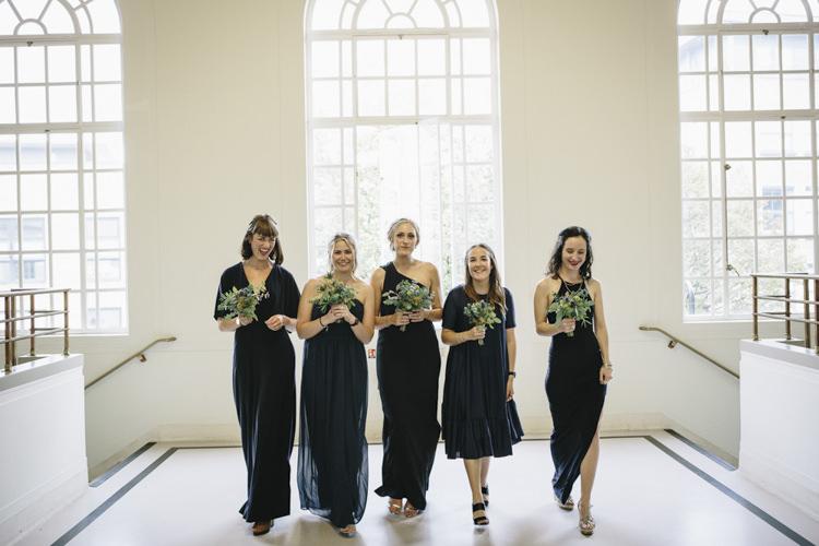 Micmatched Navy Bridesmaid Dresses Stylish Clean Modern City Wedding https://mybeautifulbride.co.uk/