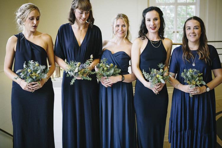 Mismatched Navy Blue Bridesmaid Dresses Stylish Clean Modern City Wedding https://mybeautifulbride.co.uk/
