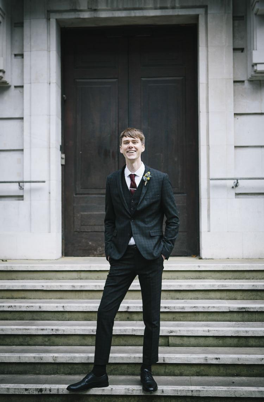 Black Grey Check Suit Groom Style Stylish Clean Modern City Wedding https://mybeautifulbride.co.uk/