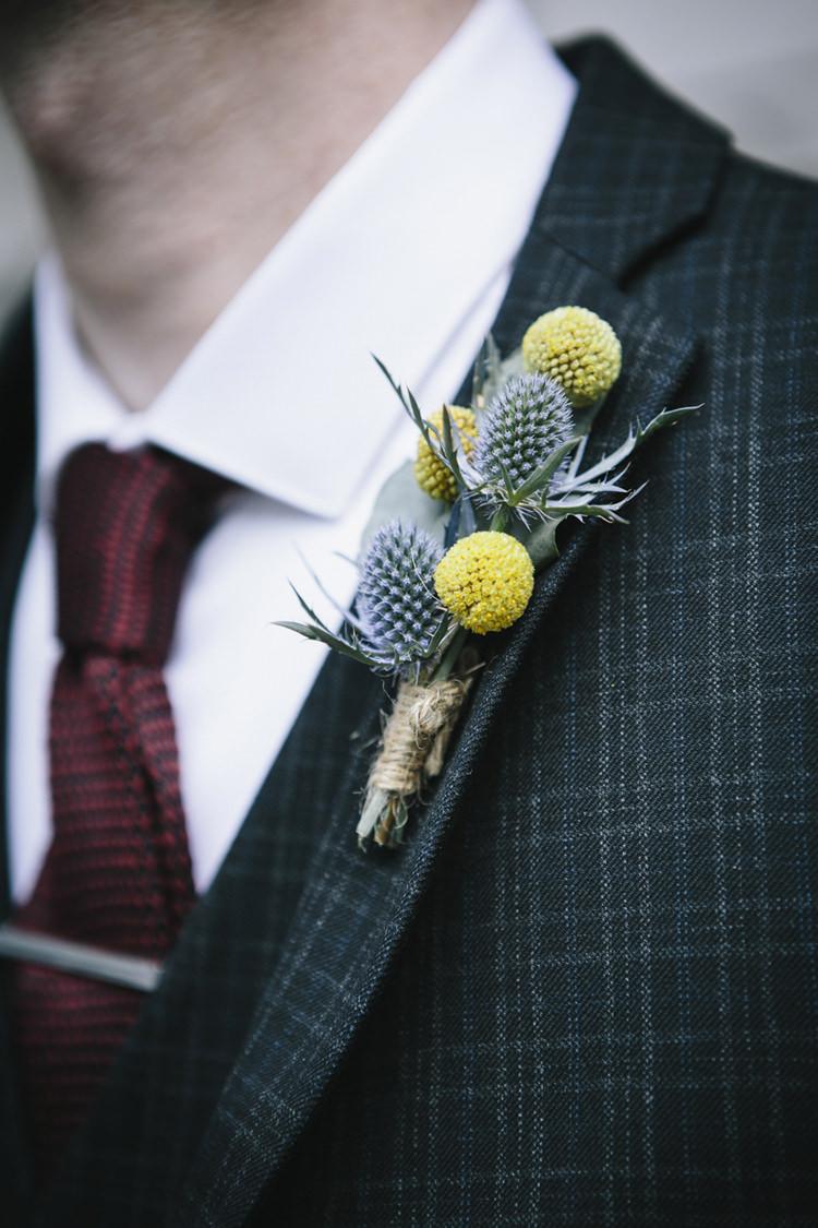 Billy Ball Craspedia Buttonhole Groom Thistle Stylish Clean Modern City Wedding https://mybeautifulbride.co.uk/