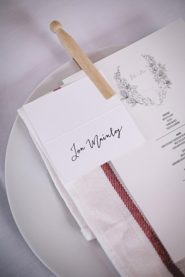 Calligraphy Place Name Setting Peg Stylish Clean Modern City Wedding https://mybeautifulbride.co.uk/