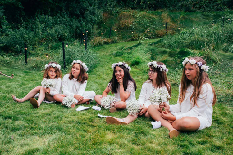 Flower Girls Crowns Crochet Dresses White Indie Outdoorsy Camp Wedding http://emilytylerphotography.com/