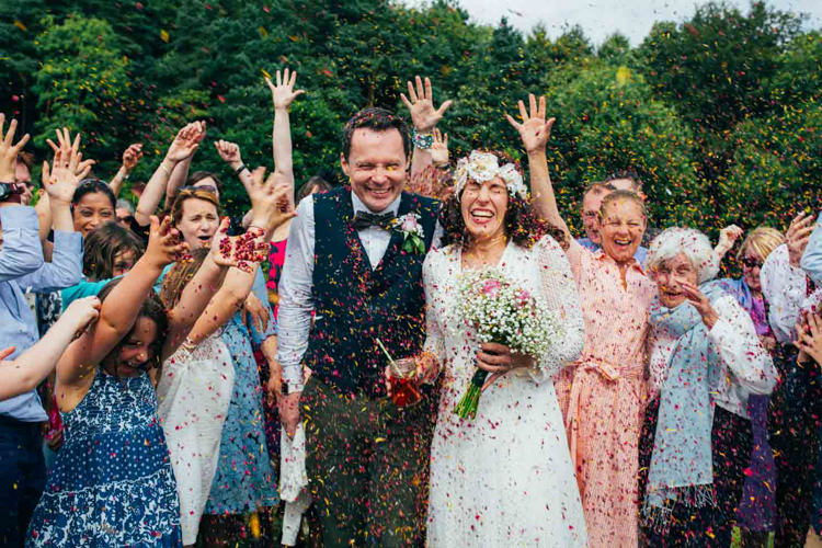 Confetti Petal Throw Indie Outdoorsy Camp Wedding http://emilytylerphotography.com/