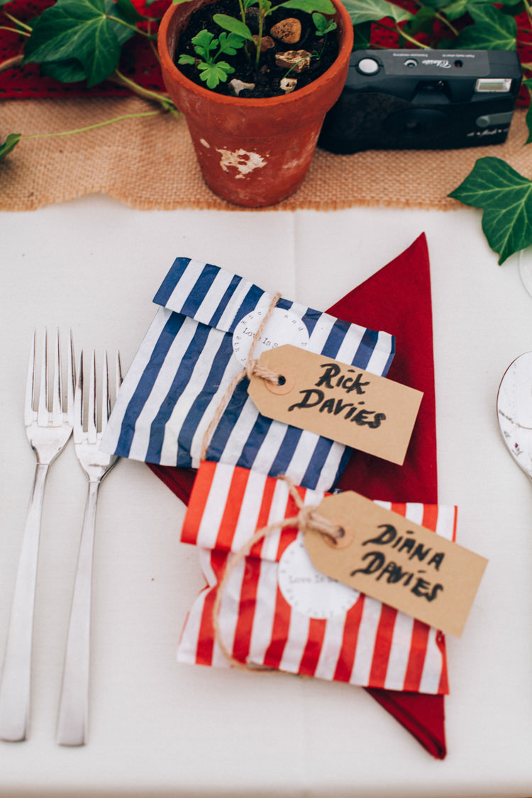 Luggage Tag Place Setting Name Sweets Favours Stripe Hand Made Red White Blue Farm Wedding http://www.caseyavenue.co.uk/