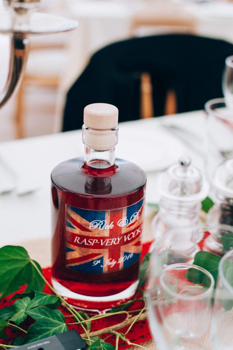 Vodka Favour Bottle Hand Made Red White Blue Farm Wedding http://www.caseyavenue.co.uk/