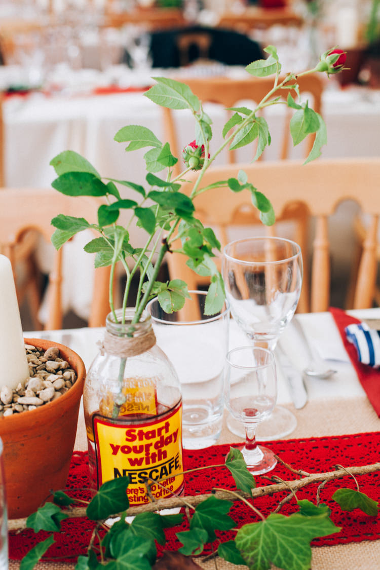 Flowers Bottle Vintage Decor Hand Made Red White Blue Farm Wedding http://www.caseyavenue.co.uk/