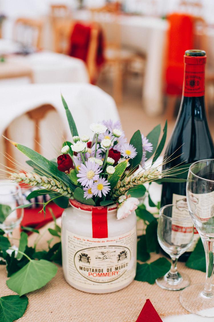 Jar Flowers Decor Hand Made Red White Blue Farm Wedding http://www.caseyavenue.co.uk/