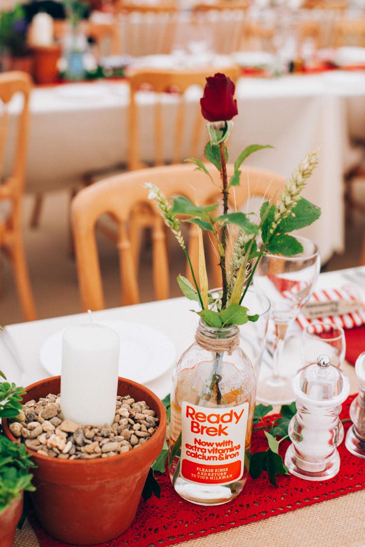 Bottle Wheat Flowers Decor Hand Made Red White Blue Farm Wedding http://www.caseyavenue.co.uk/