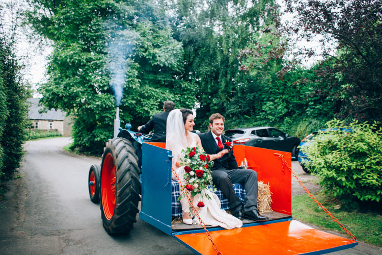Tractor Transport Hand Made Red White Blue Farm Wedding http://www.caseyavenue.co.uk/
