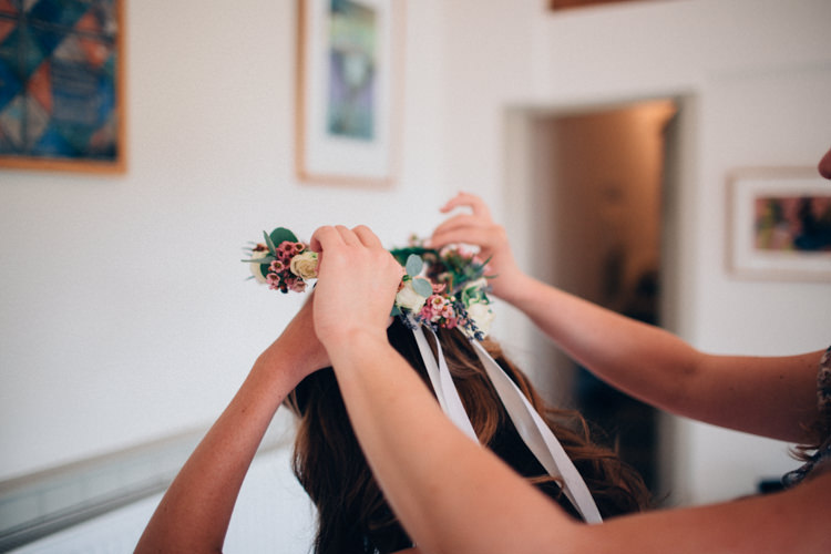 Ribbon Flower Crown Bride Bridal Rustic Home Made Farm Wedding http://blondiephotography.co.uk/