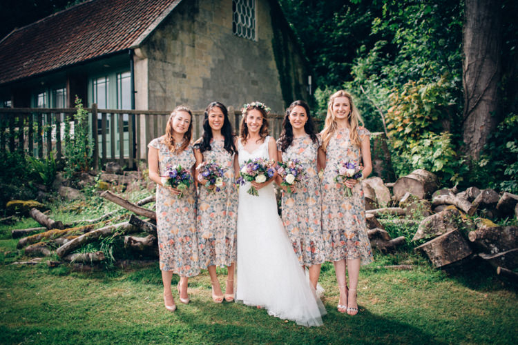 Floral Bridesmaid Dresses Rustic Home Made Farm Wedding http://blondiephotography.co.uk/