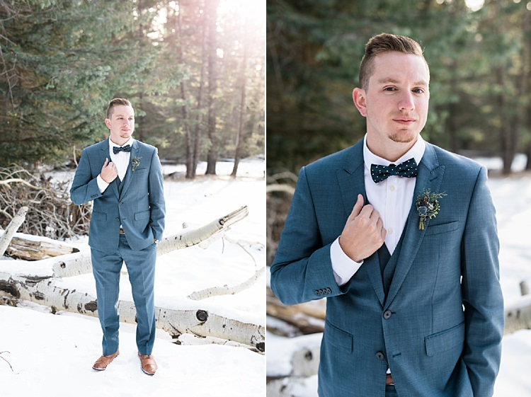 Groom Blue Suit Navy Polka Dot Bowtie Brown Leather Shoes Snowy Winter Wonderland Anniversary Shoot http://ryannlindseyphotography.com/