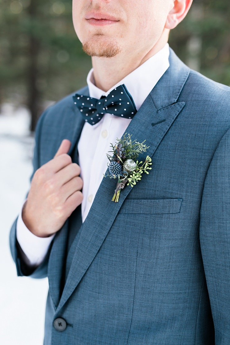 Groom Blue Suit Vest Navy Polka Dot Bowtie Floral Buttonhole Snowy Winter Wonderland Anniversary Shoot http://ryannlindseyphotography.com/