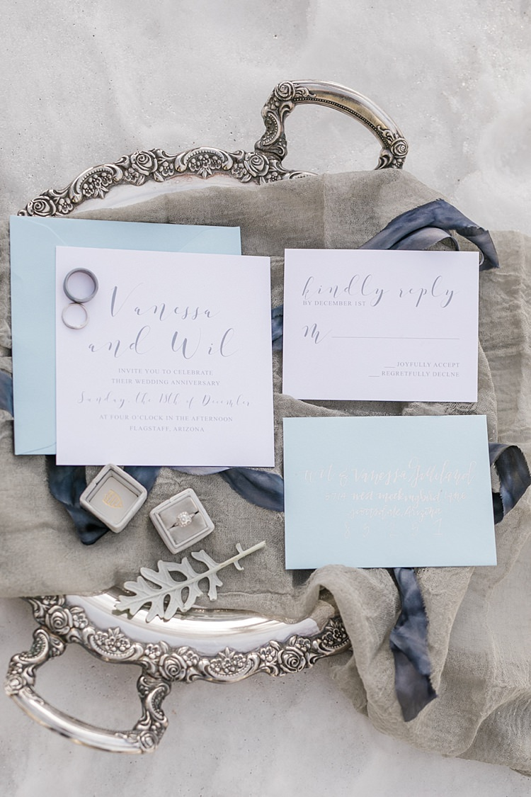 Stationery Invitation RSVP Calligraphy Wedding Bands Engagement Ring Antique Silver Tray Snowy Winter Wonderland Anniversary Shoot http://ryannlindseyphotography.com/