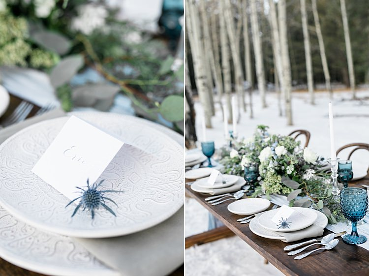 Outdoor Reception Wooden Table Calligraphy Name Card Fresh White Blue Green Florals Blue Wine Goblets Snowy Winter Wonderland Anniversary Shoot http://ryannlindseyphotography.com/