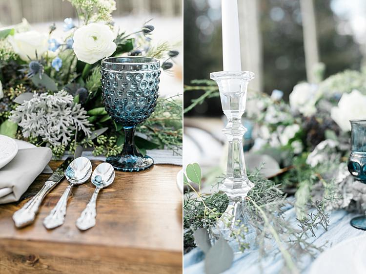 Outdoor Reception Wooden Table Fresh White Blue Green Florals Blue Wine Goblets Glass Candlesticks Snowy Winter Wonderland Anniversary Shoot http://ryannlindseyphotography.com/