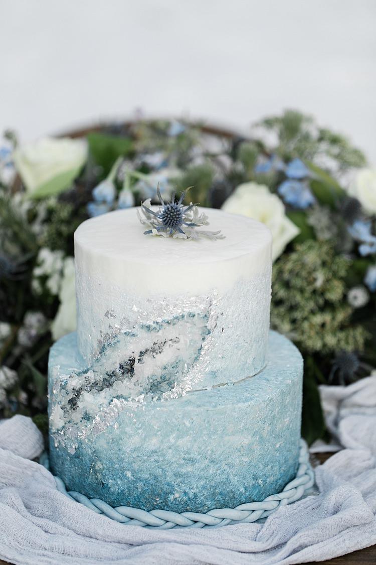 Geode Cake Gemstone Icy Blue Crystal Fresh Florals Snowy Winter Wonderland Anniversary Shoot http://ryannlindseyphotography.com/