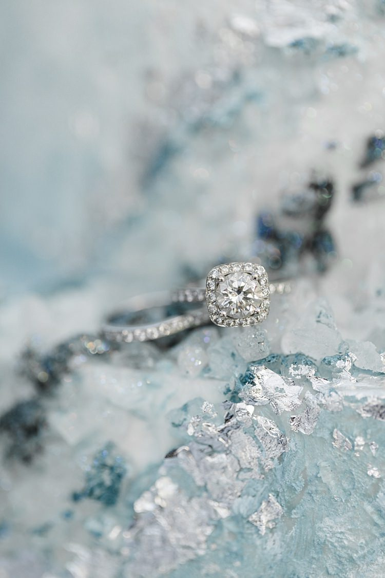 Diamond Engagement Ring Wedding Band Blue White Geode Cake Snowy Winter Wonderland Anniversary Shoot http://ryannlindseyphotography.com/