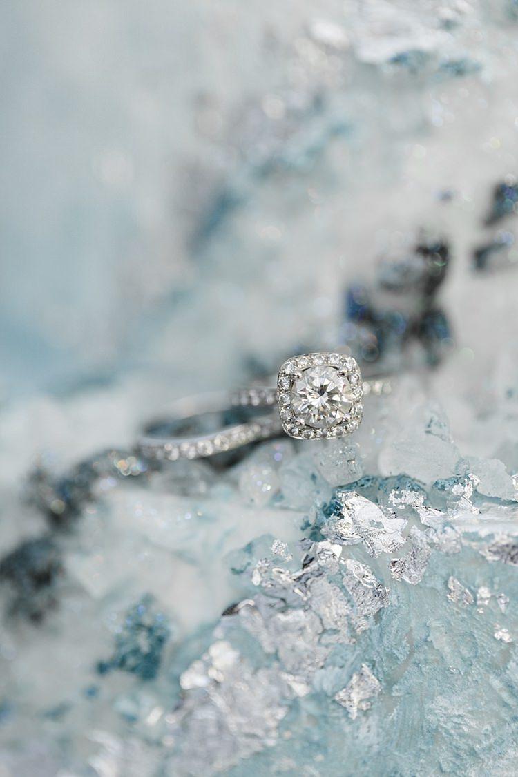 Diamond Engagement Ring Wedding Band Blue White Geode Cake Snowy Winter Wonderland Anniversary Shoot http://ryannlindseyphotography.com/