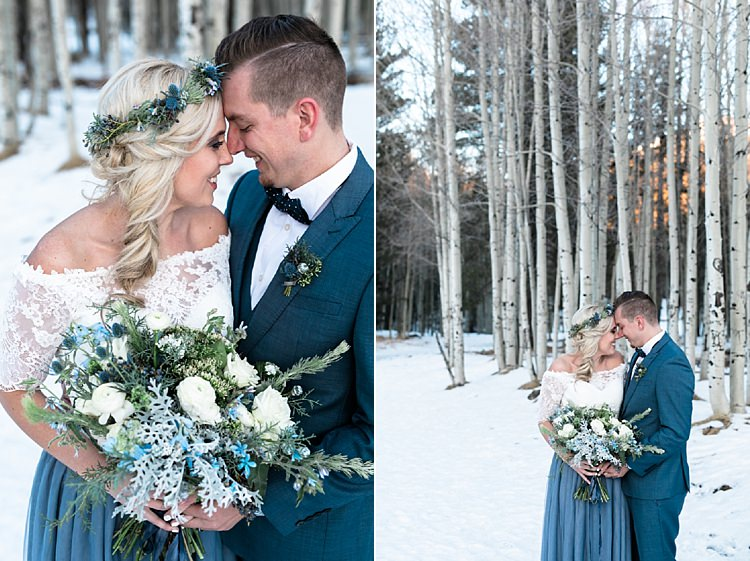 Bride Lace Off The Shoulder Top Blue Long Skirt Floral Crown Bouquet White Blue Green Flowers Groom Blue Suit Navy Polka Dot Bowtie Snowy Winter Wonderland Anniversary Shoot http://ryannlindseyphotography.com/